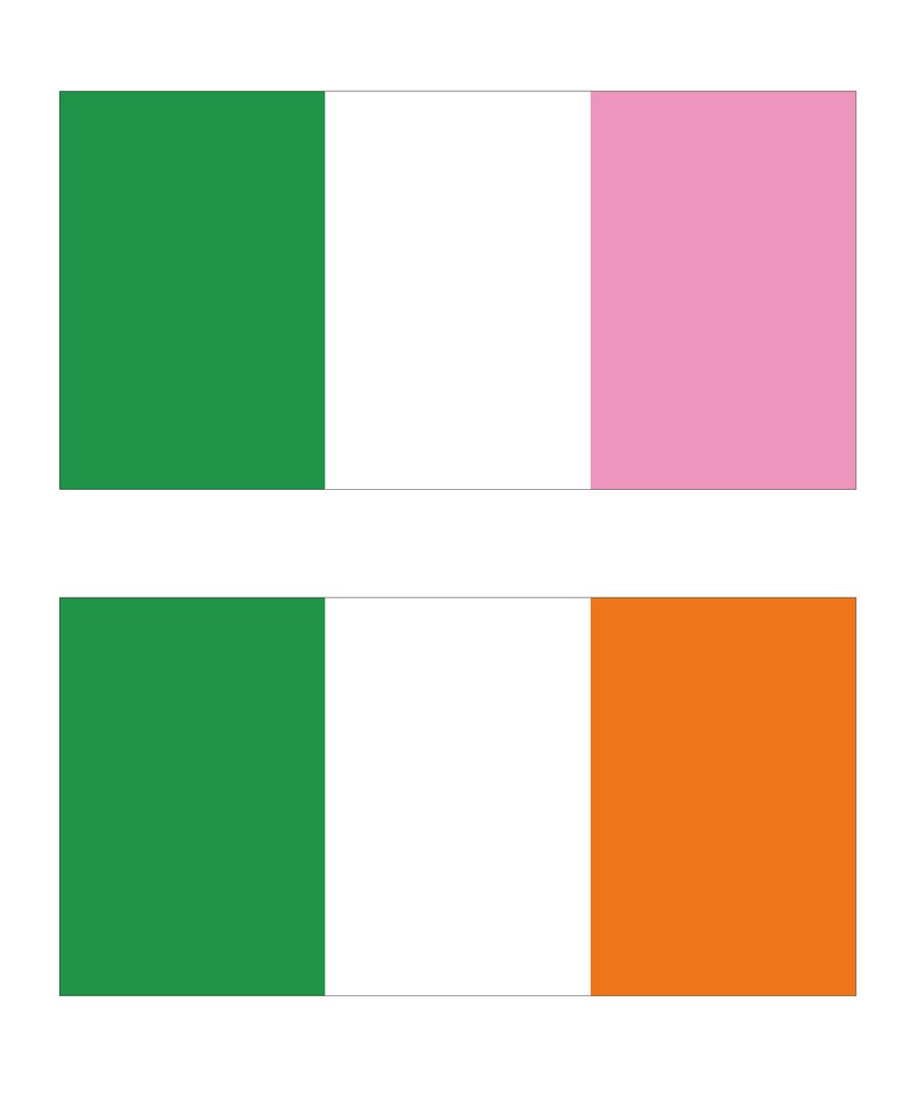 ニューファンドランドの三色旗(上)とアイルランドの国旗(下)