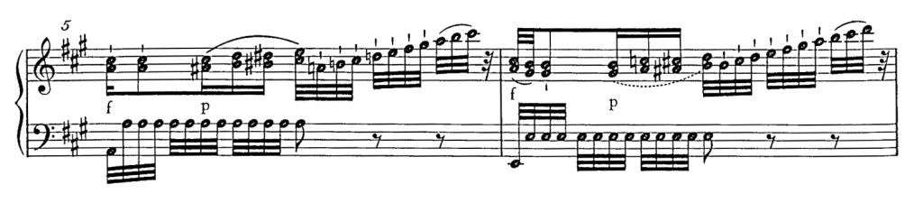 譜例2 第1楽章第5変奏第5、6小節(『新モーツァルト全集』=NMA)