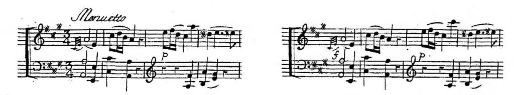 譜例5 第2楽章第1~4小節、および第31~34小節(初版)